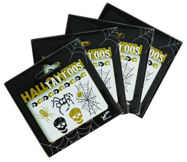Jofrika 704052 - Halloween Tattoos, schwarz gold