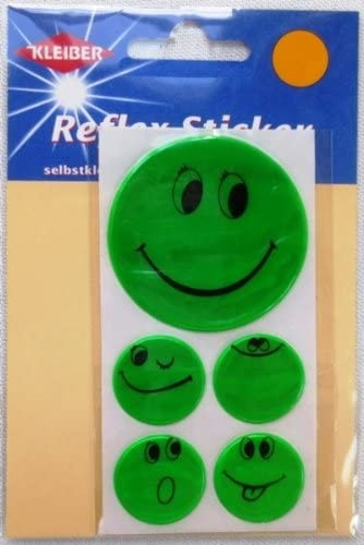 Kleiber Reflex Sticker Set - 5 SMILEY - grün