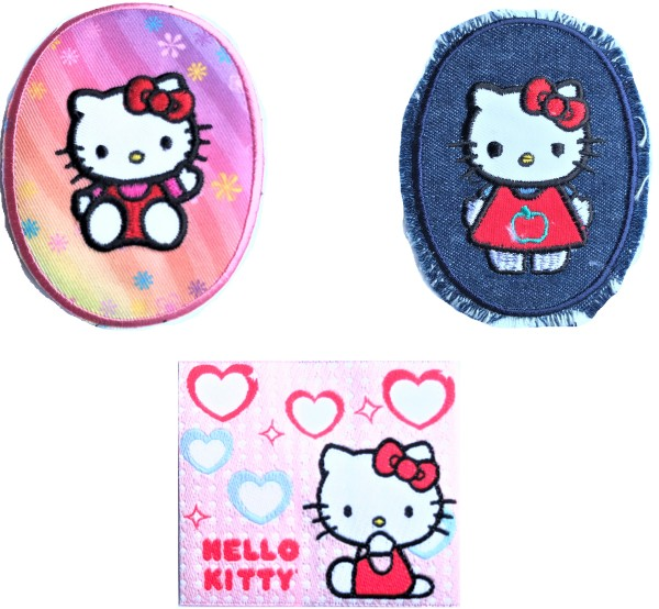 Mono Quick Hello Kitty Applikation, Bügelbild, Patches, Oval, Jeans, Label