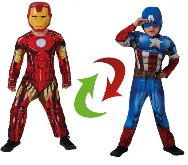 Rubies 3630455 - 2 in 1 Captain America - Iron Man, Reversible Marvel Kostüm